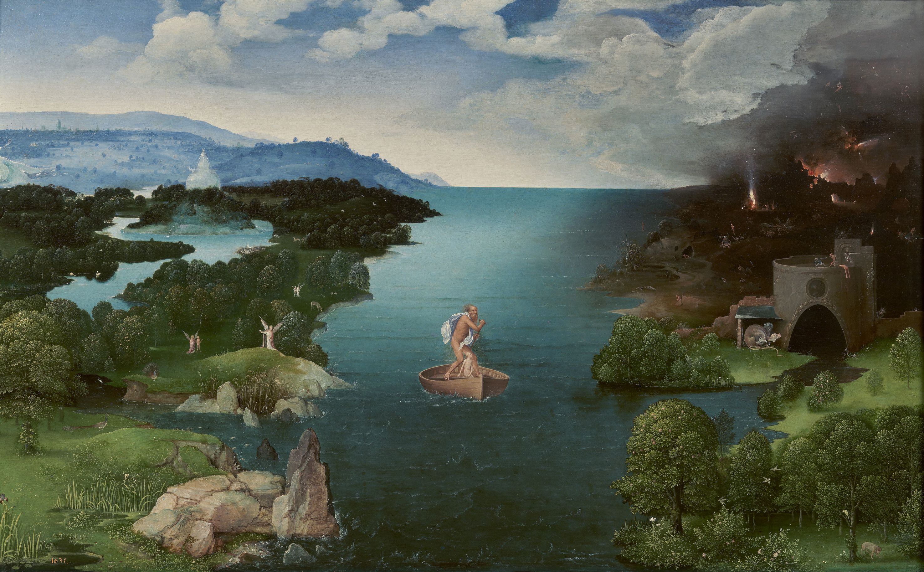 """Joachim Patinir (1480–1524), Landscape with Charon Crossing the Styx, 1515–1524. Patinir pioneered the """"world landscape"""" style"""
