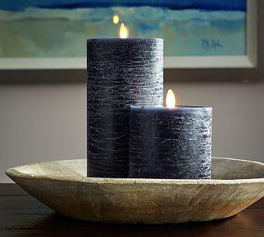 Premium Flicker Flameless Rustic Wax Pillar Candle Navy