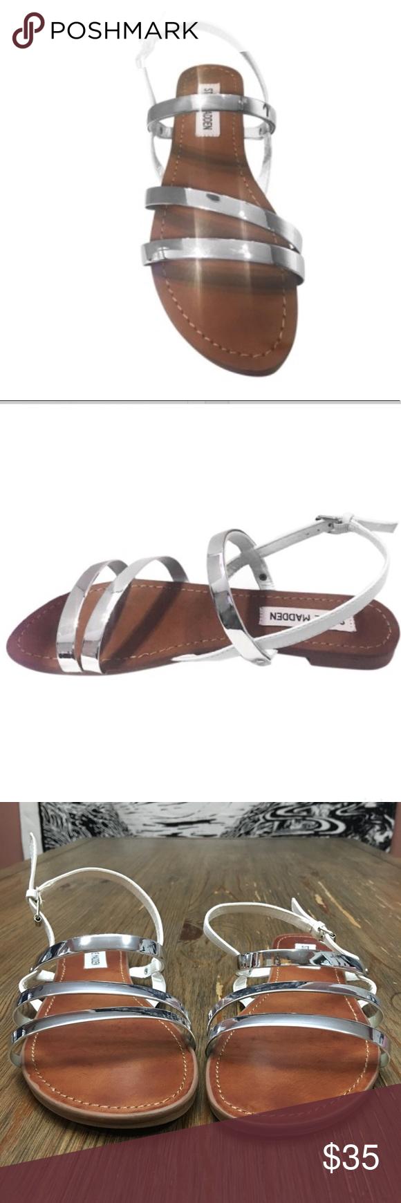 fcd0eebcecb Steve Madden BRIIAA Silver & White Strappy Sandals 🎀Steve Madden ...
