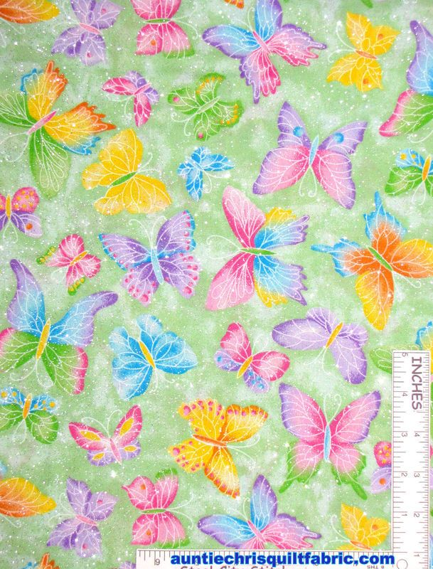 Fabric Traditions Butterflies Glitter Purple Fabric By The Yard
