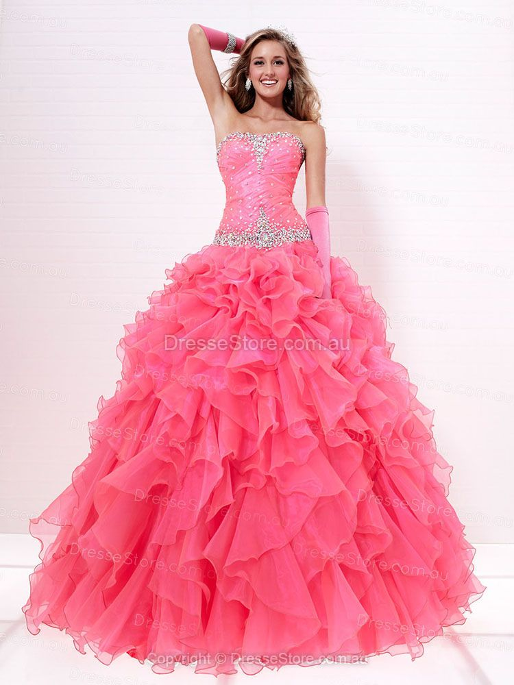 BallGown Strapless Organza Floor-length Tiered Prom Dresses at ...