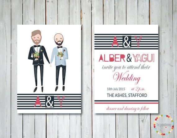 Gay Wedding Invite: Illustrated And Custom Gay Wedding Invitation