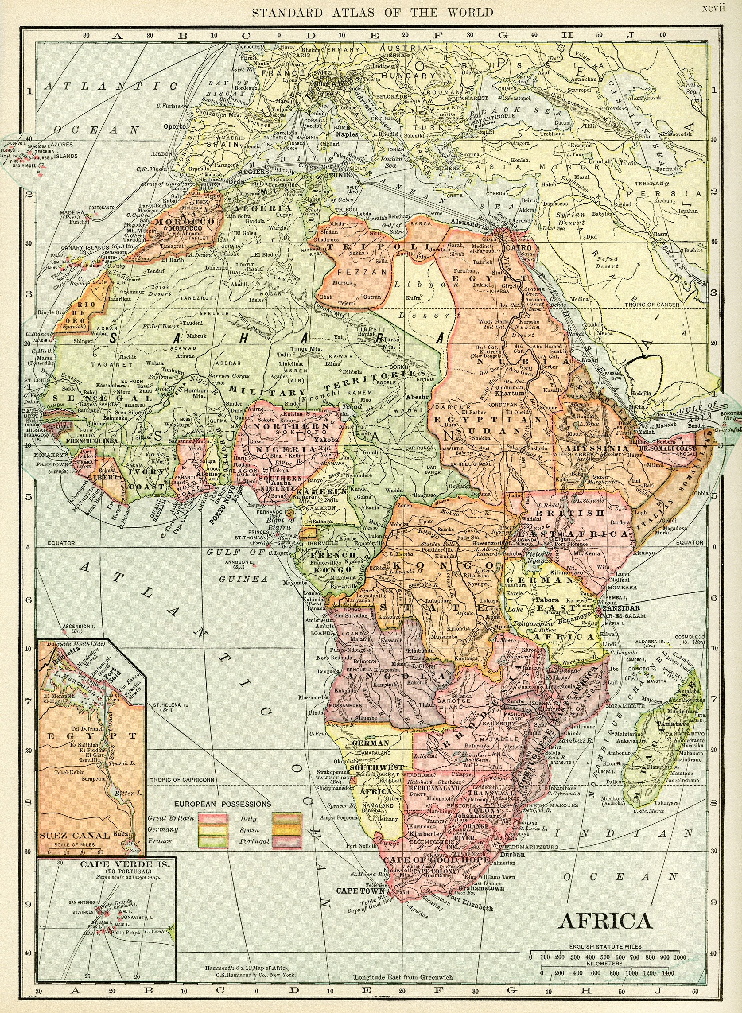 C S Hammond map of Africa, antique historical map, history ...