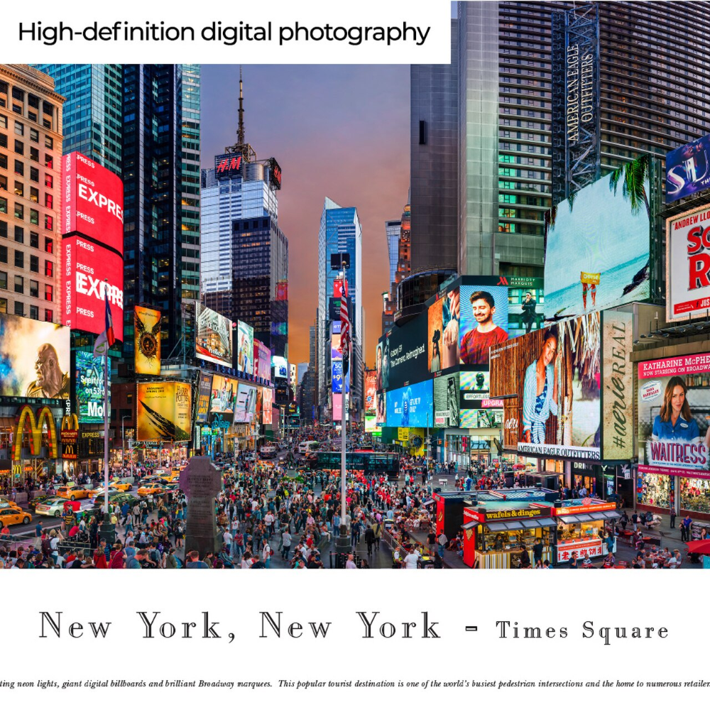 New York Times Square Panoramic Picture City Skyline Print Times Square Panoramic Pictures City Skyline