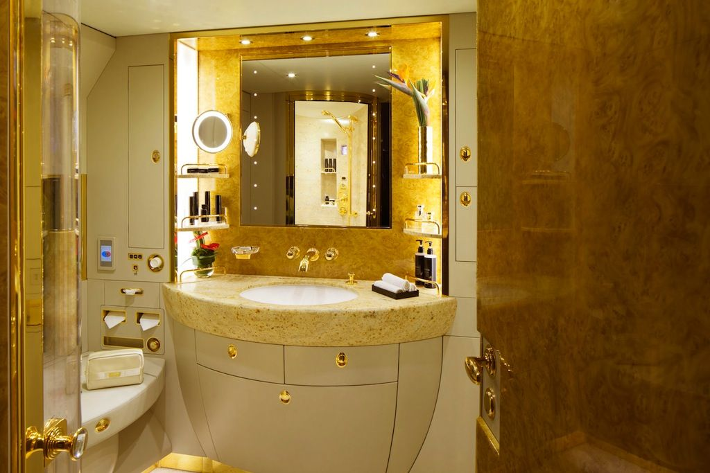 A bathroom in the emirates 39 new charter jet luxury is for Bathroom design uae
