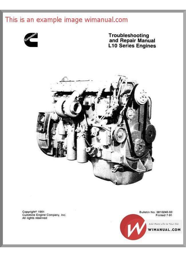 Cummins Engine L10 Troubles Manual Cummins Manual Engineering