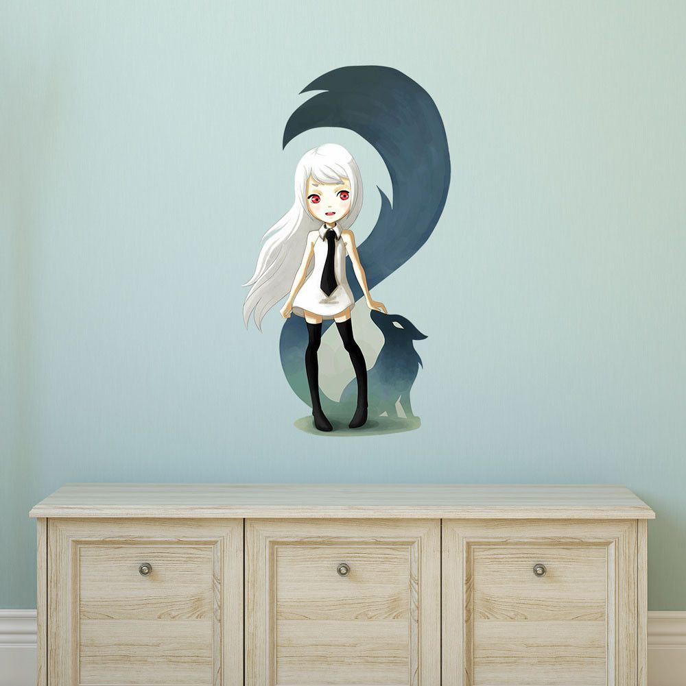 Anime Animal Art Wall Sticker Decal – Fox Demon by Indre Bankauskaite