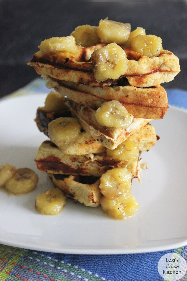 Maple Infused Protein Waffles with Caramelized Bananas