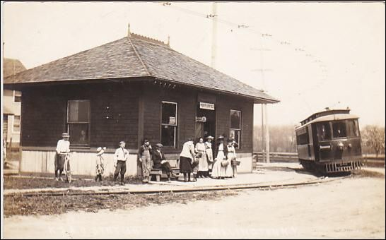 RP: Interurban Trolly at R.S. & B. Depot / Post Office , WALLINGTON , New York , 00-10s