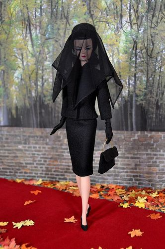 87-1. mini replica of Jackie Kennedy black ensemble she wore at John's Kennedy funeral