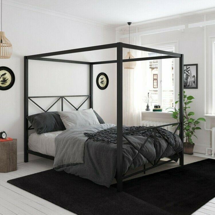 Best Details About Queen Metal Canopy Bed Black Bedframe Modern 400 x 300