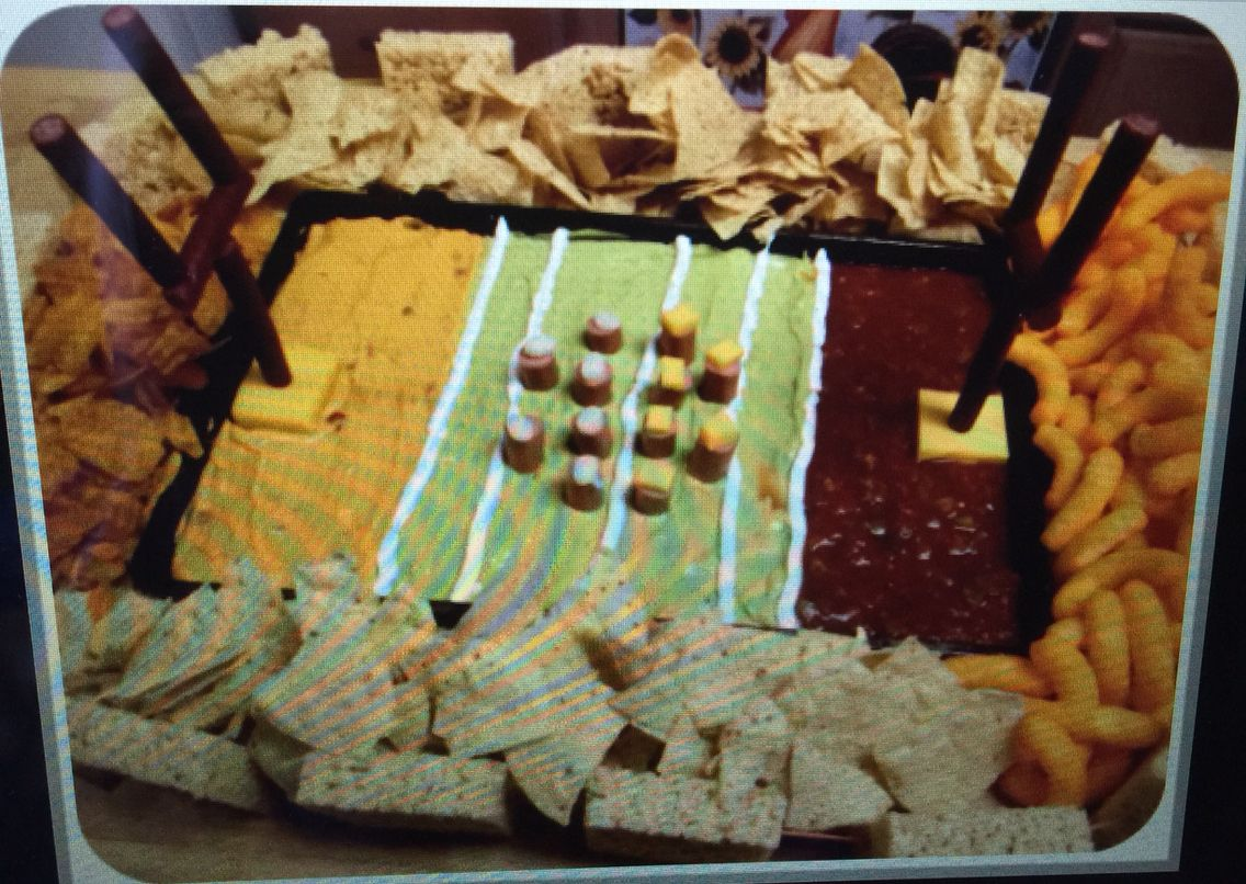 Football field triple dip! I'm going to make it a 7 layer dip so the top is all guac!!