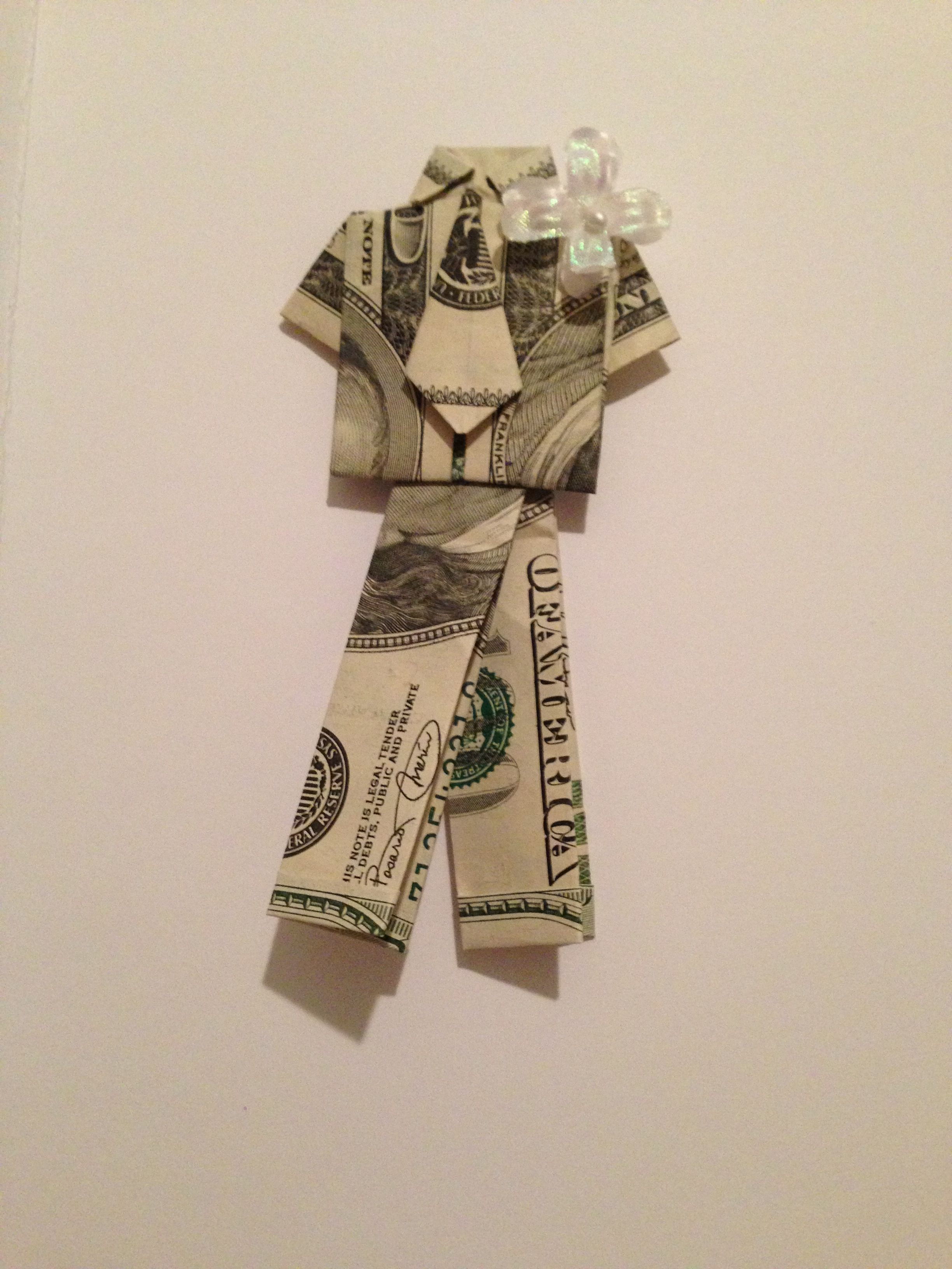 For a wedding gift with a cash origami dress ... For instructions ...