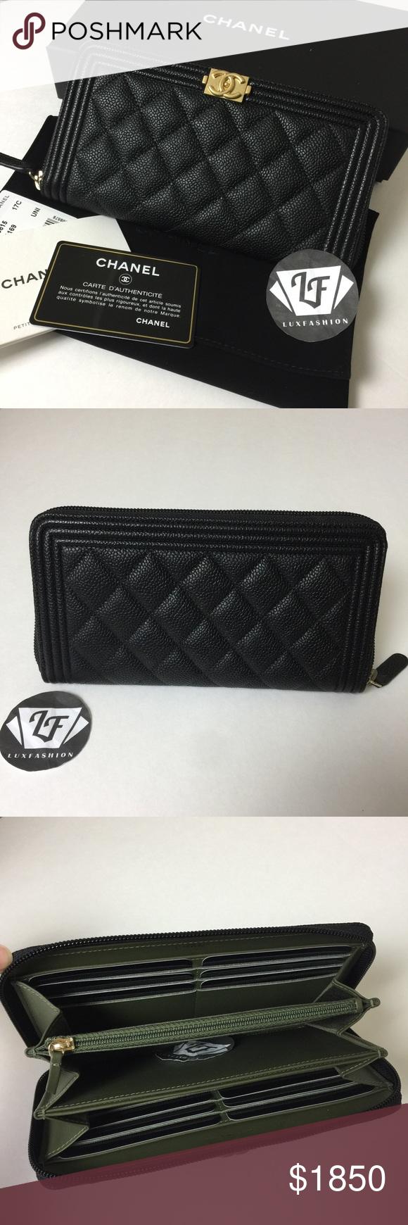 f91b3a65c751eb Chanel Boy Long Zip Around Wallet Black Caviar GH Brand new and Authentic.  Sold out in stores! Full set with box, dust pouch, tag, care booklet and ...