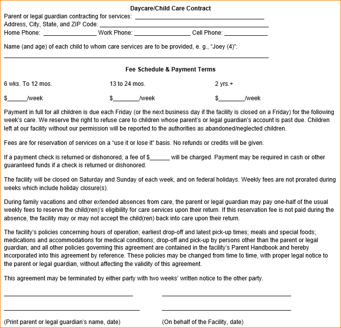 daycare contract form