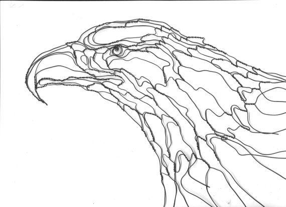 wire sculpture wall art  2d 12in eagle head by elizabeth berrien