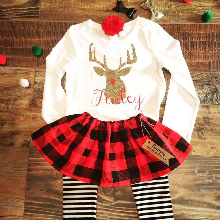 Baby Girl Buffalo Plaid Christmas Outfit- Girl Toddler Winter ...