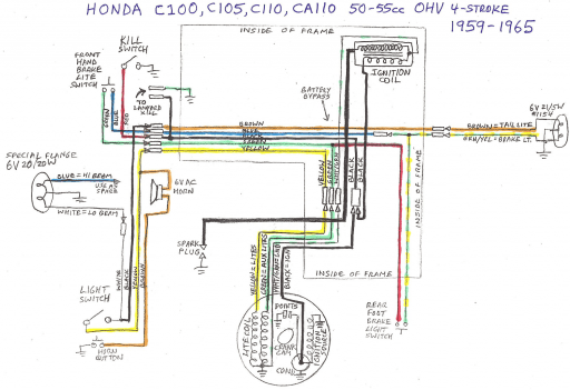 honda c110 ohv (1959-1965) wiring schematic - 4-stroke.net - all ... honda 4 stroke wiring diagram 5 pin cdi wiring diagram pinterest