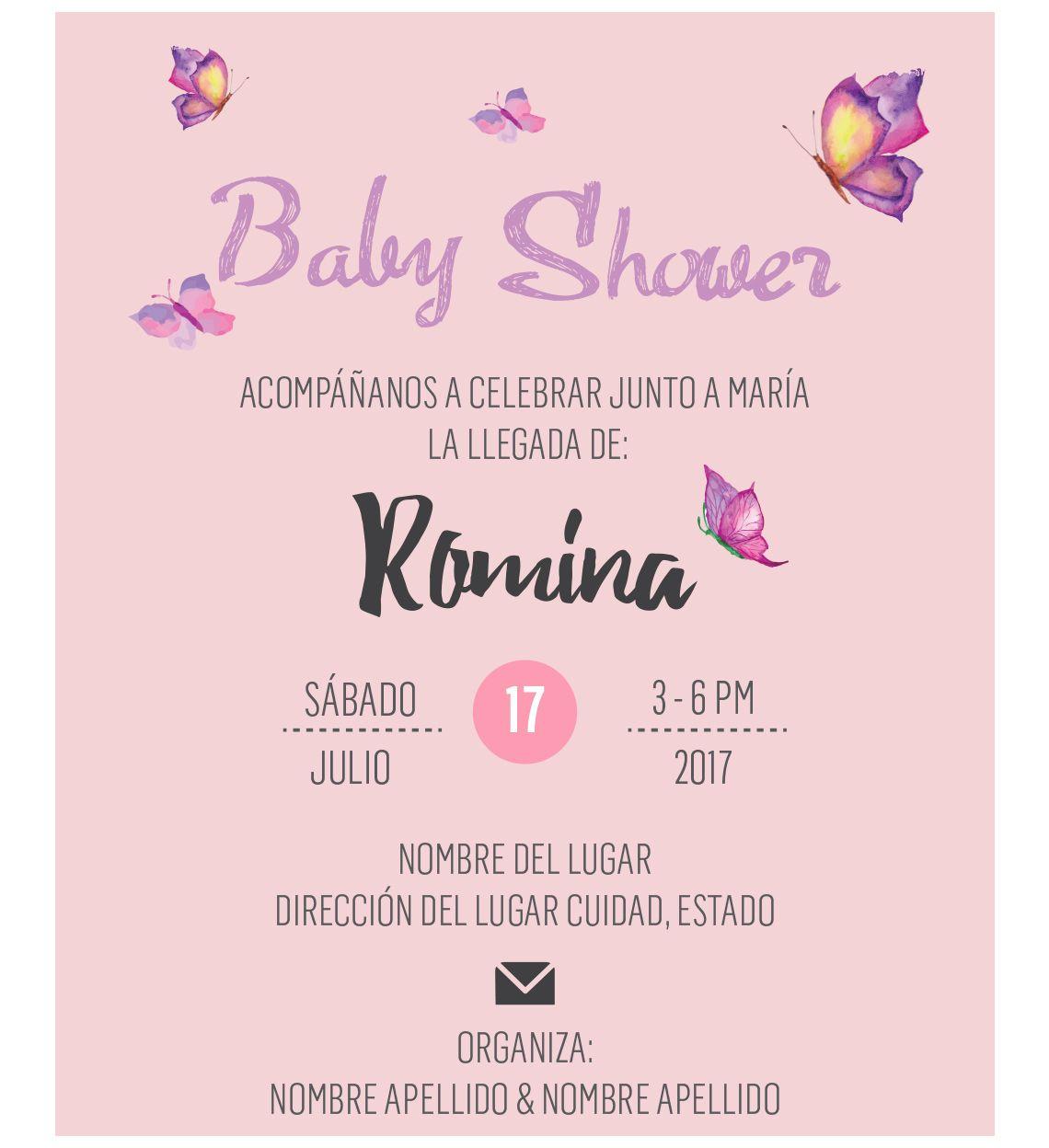Invitación Baby Shower Mariposa Lista Para Imprimir En 2019
