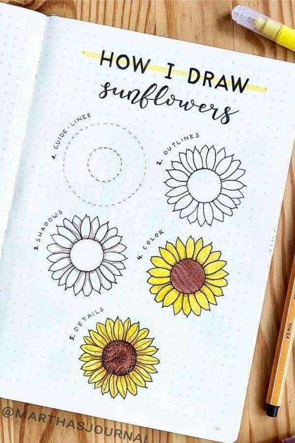 Photo of Dibujos de flores paso a paso: bullet journal – agenda/note/inspire book – dibujo