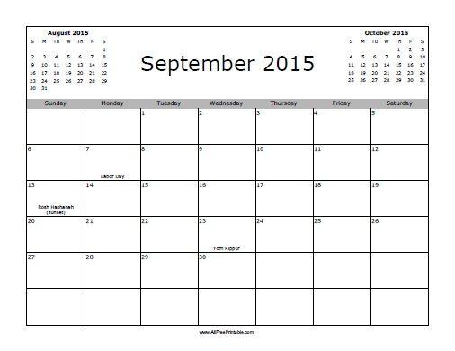 Calendar 2015 September