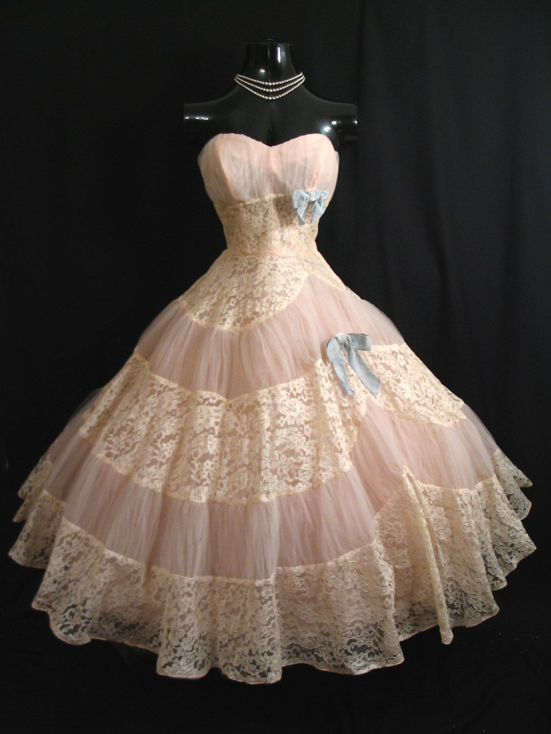 Vintage 1950\'s 50s STRAPLESS Emma Domb Pink Ivory Tulle Embroidered ...