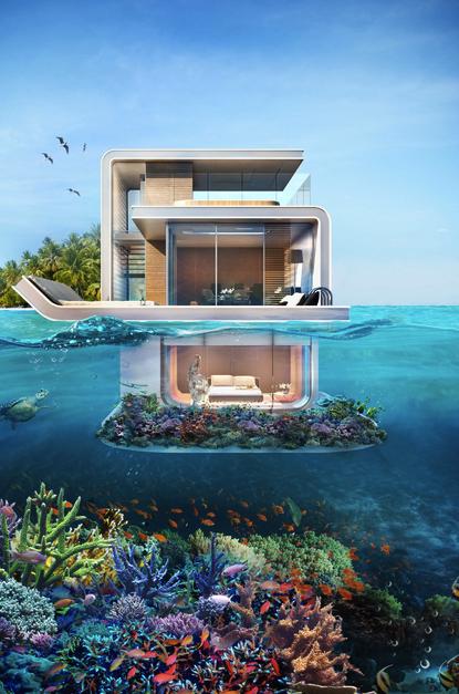 Seahorse Une Villa De Luxe Sous L Ocean Avec Images Maison Flottante Villa De Reve Villa De Luxe