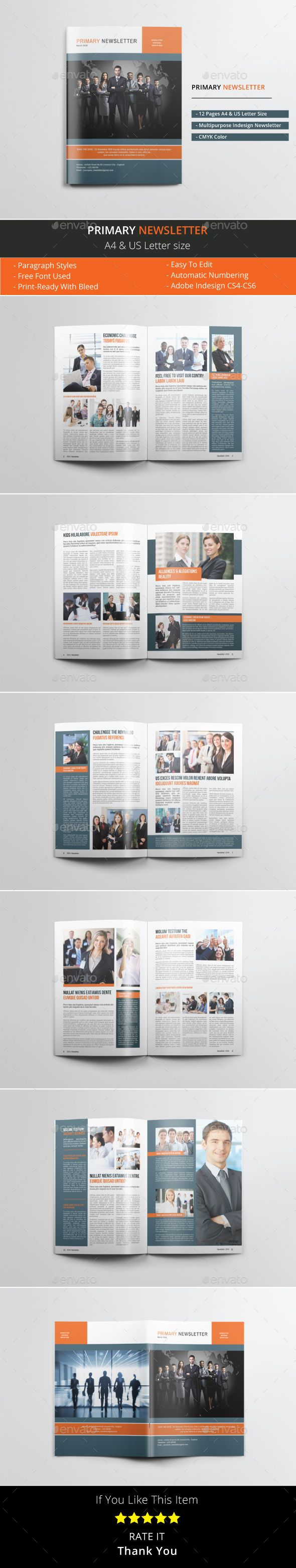 Primary Newsletter Template Indesign Indd 12 Pages A4 Us Letter