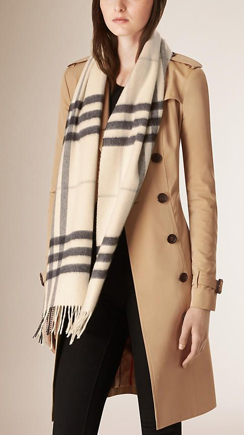 The Classic Cashmere Scarf in Natural White Check is made at a 200-year-old  mill in the Scottish countryside. Monogram yours at Burberry.com f2d8847c215
