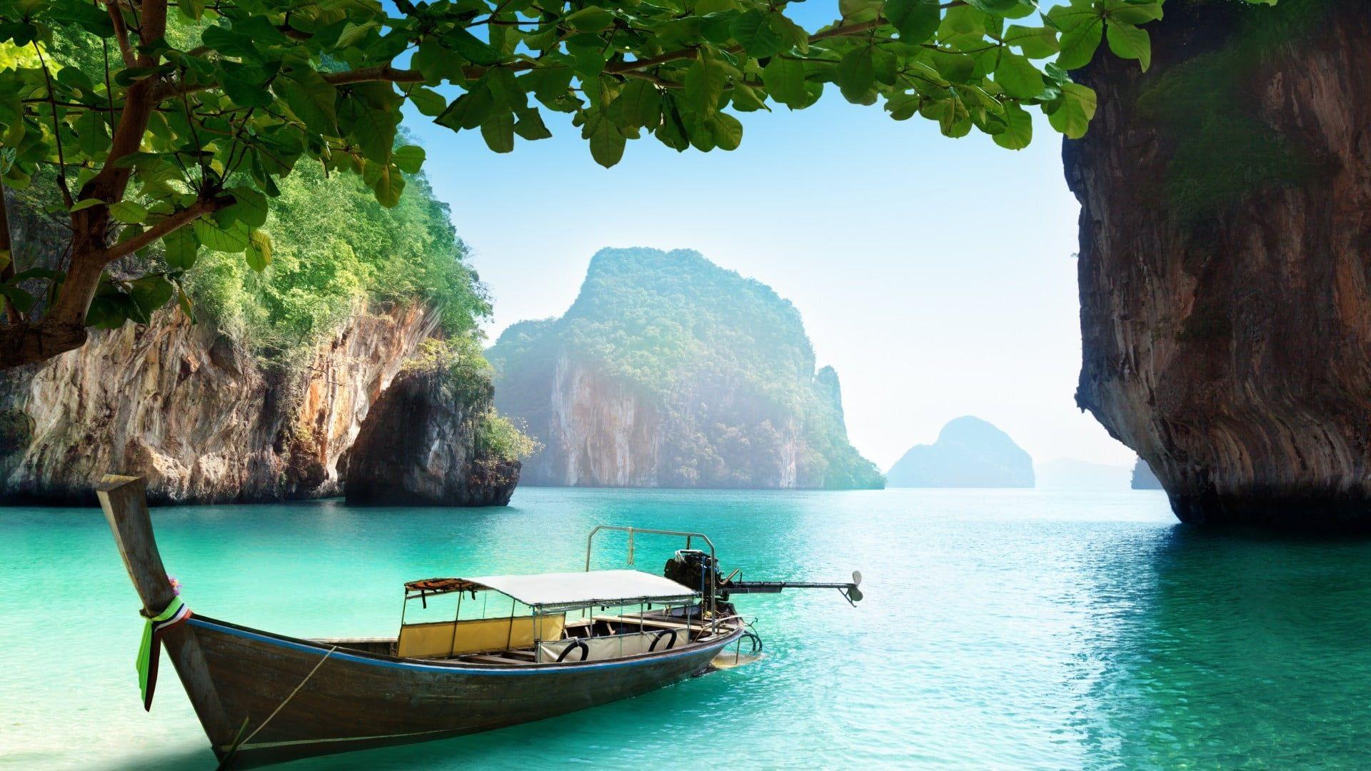 Black And Gray Boat Thailand Thai Sea Water Island Boat Ship Trees Rocks Beach Vacation 1080p Wal Thailand Beaches Thailand Travel Beach Wallpaper