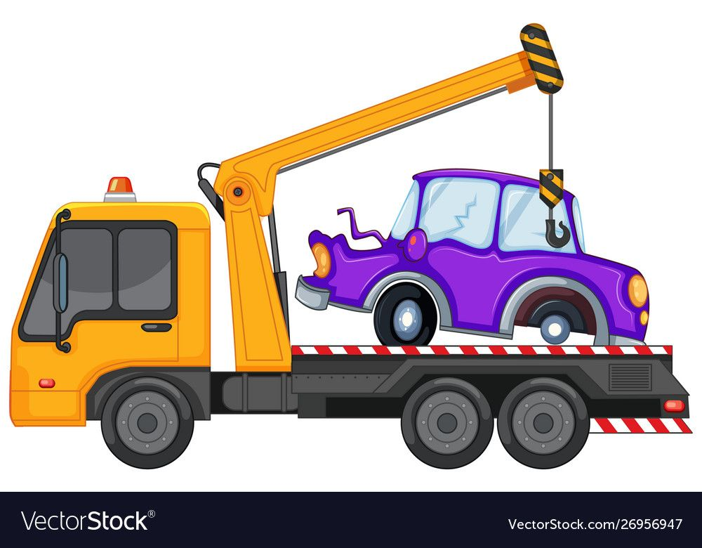 Tow Truck And Broken Car On It Royalty Free Vector Image Tow Truck Towing Truck Cranes