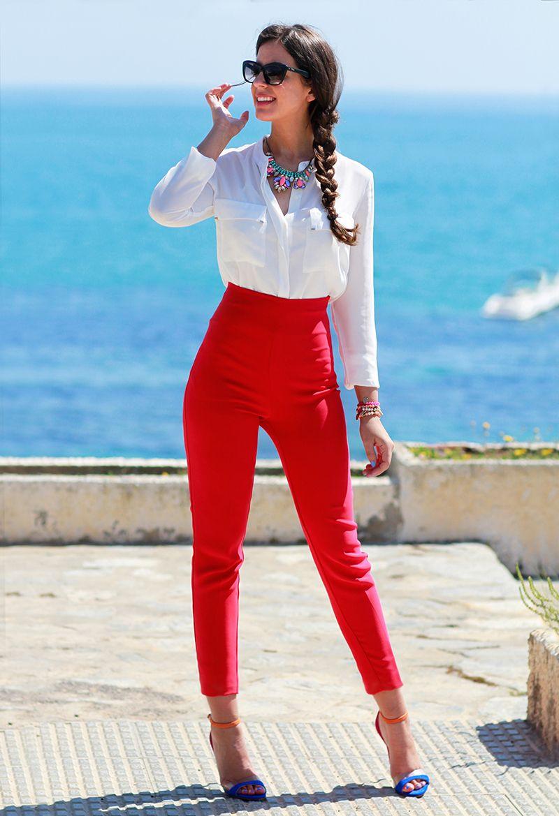 Bajo De Color 1sillaparamibolso Pantalon Rojo Mujer Pantalones De Vestir Mujer Pantalones Rojos