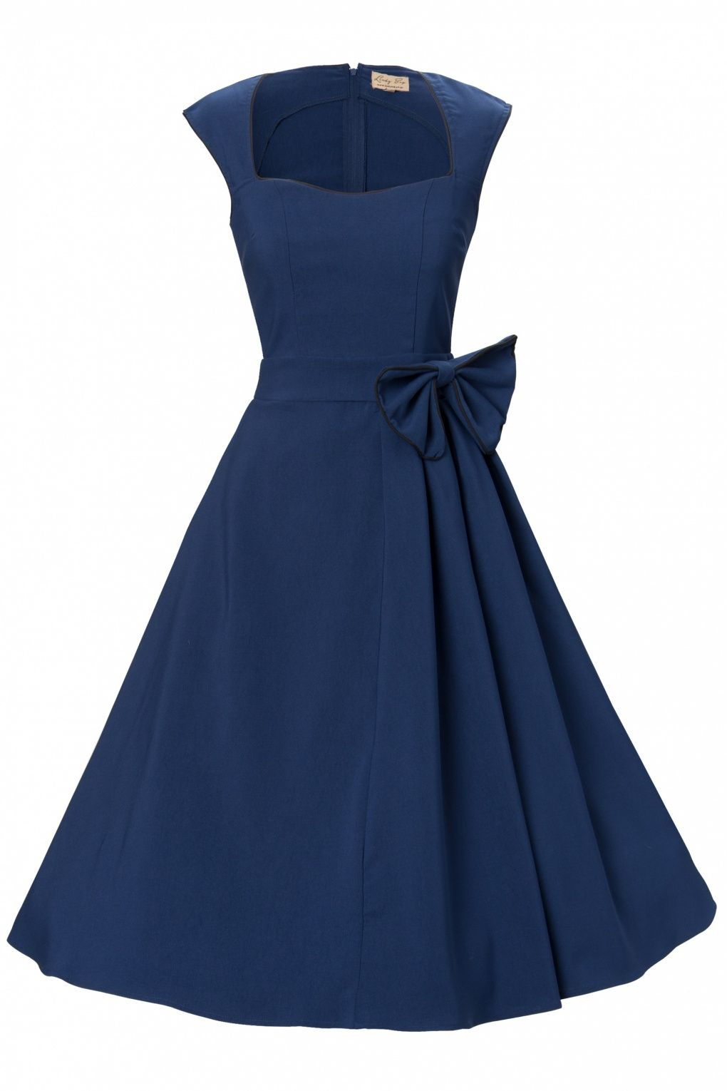 Lindy Bop - 1950's Grace Midnight Blue Bow vintage style swing party roc