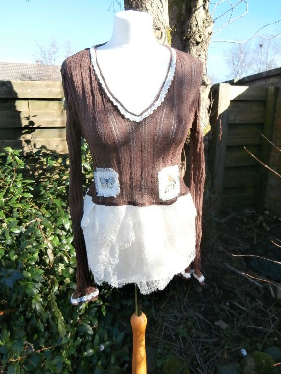 Upcycled Sweater Dress 'Tangle Wood' UK size by StrangelyMagical