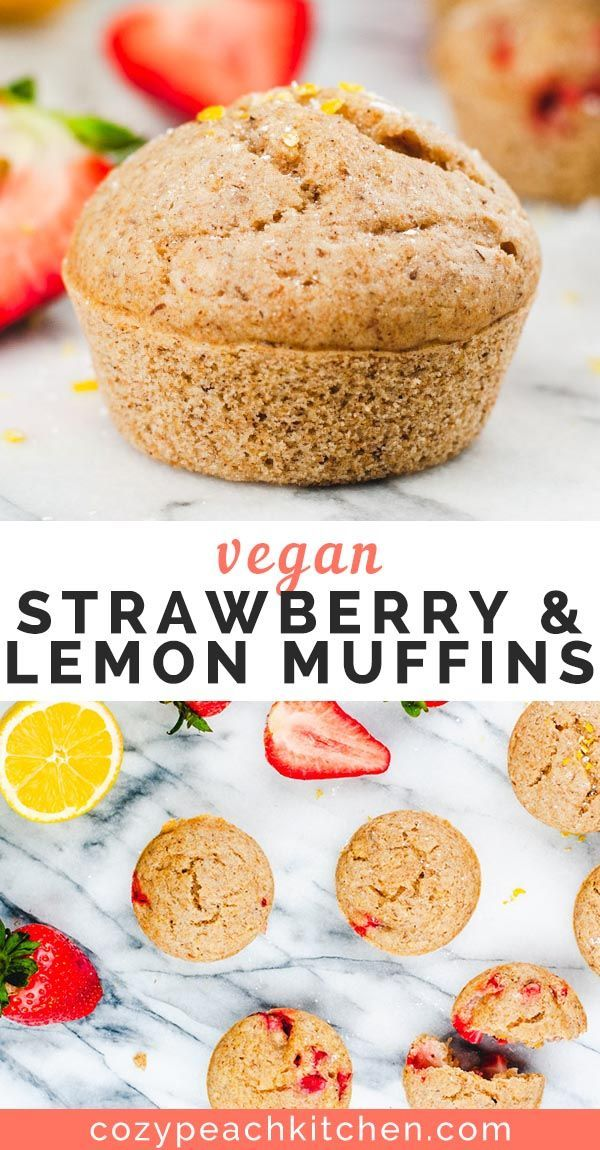 Vegan Strawberry and Lemon Muffins