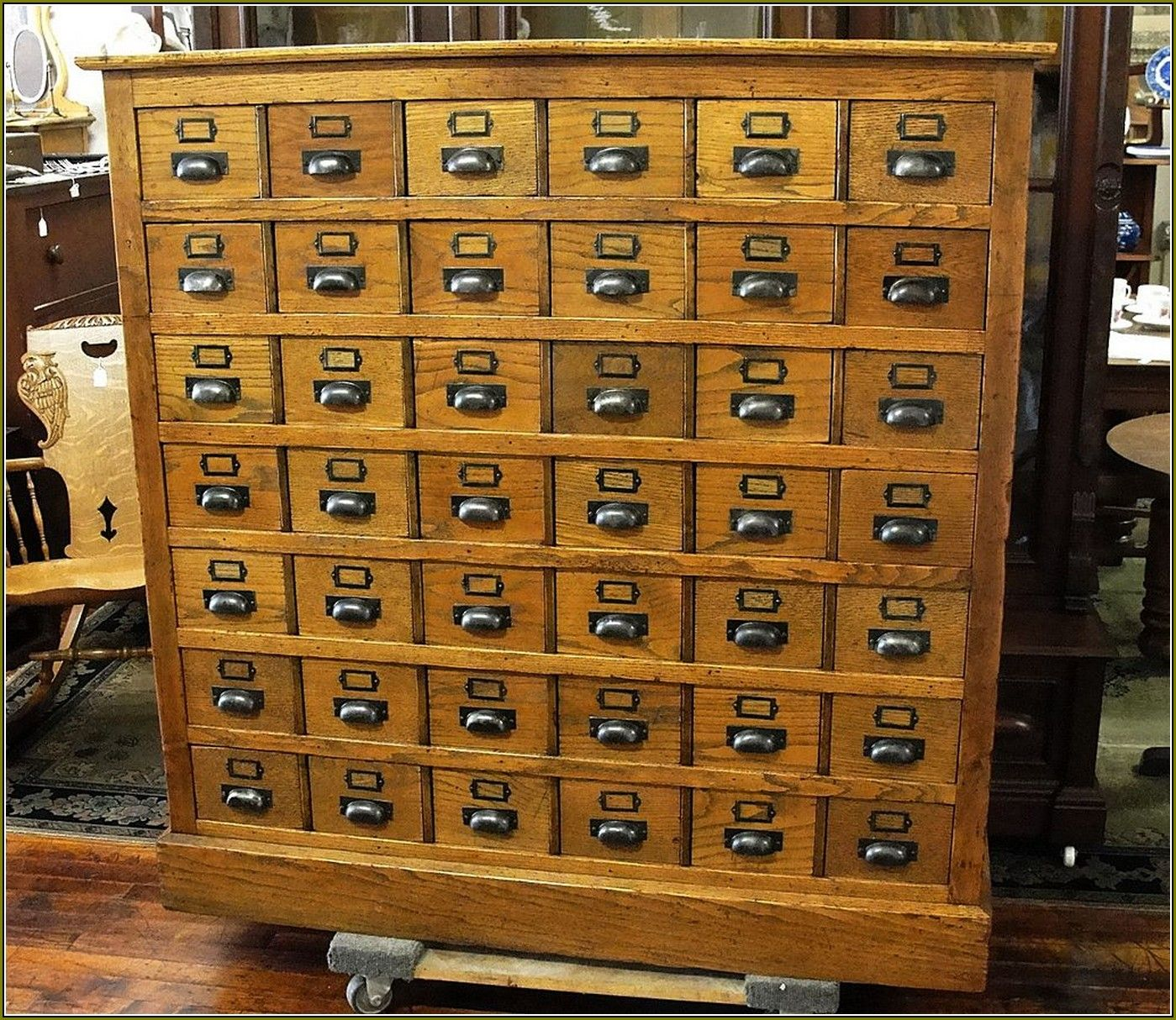 Oak Library Card File with 48 Drawers from breadandbutter on Ruby Lane - Antique Library Card Catalog Cabinet Home Design Ideas