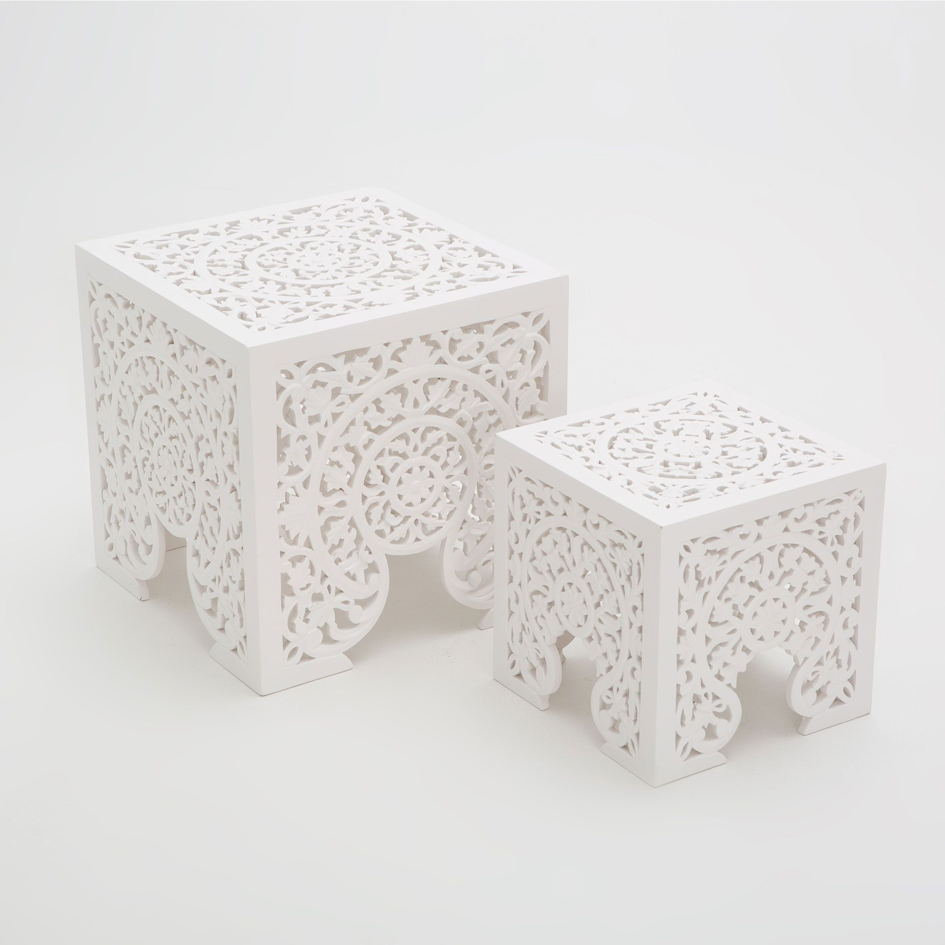 Openwork nest of tables set of 2 occasional furniture for Table zara home