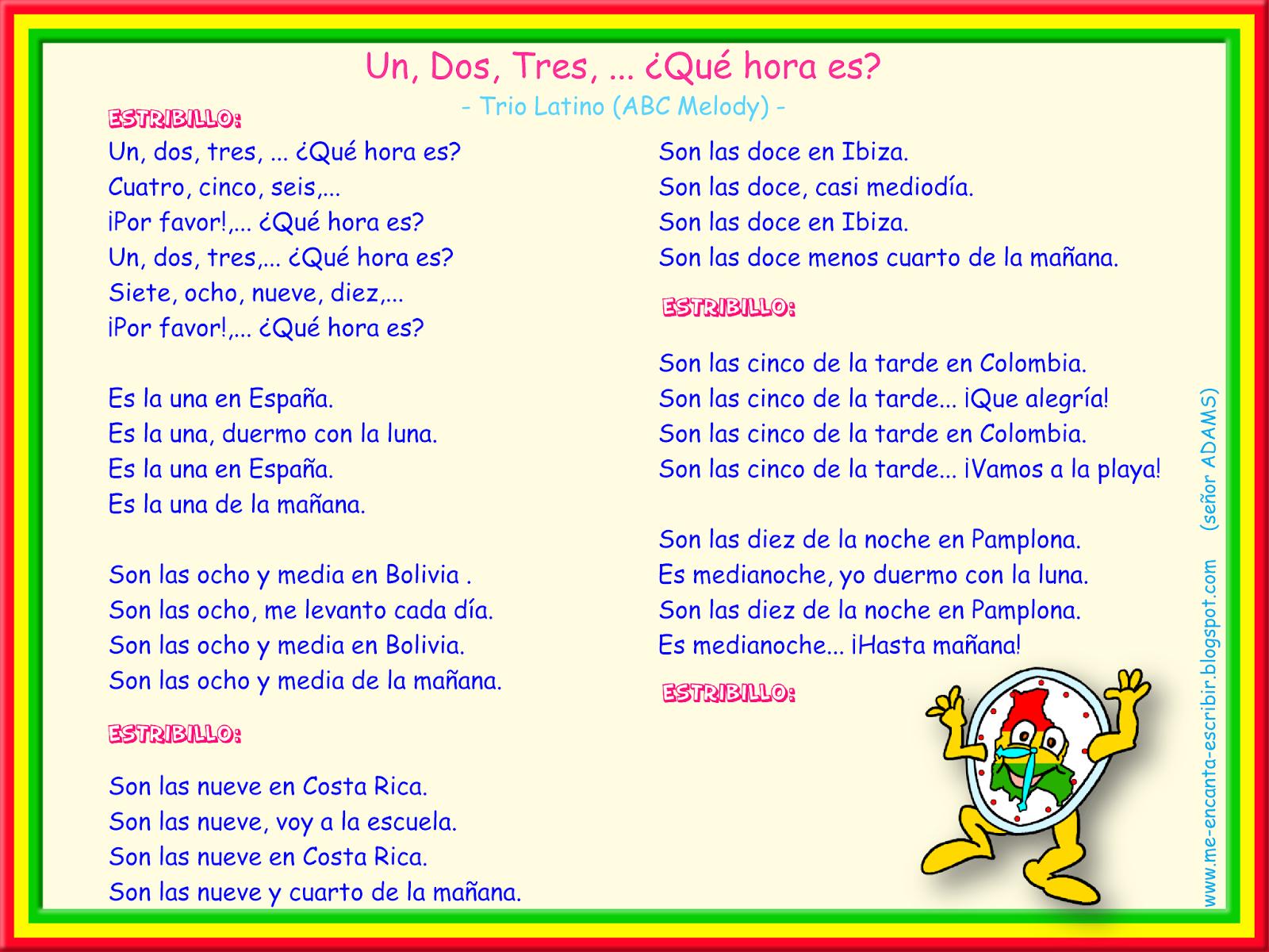 Me Encanta Escribir En Espanol Cancion 1 2 3 Que Hora Es