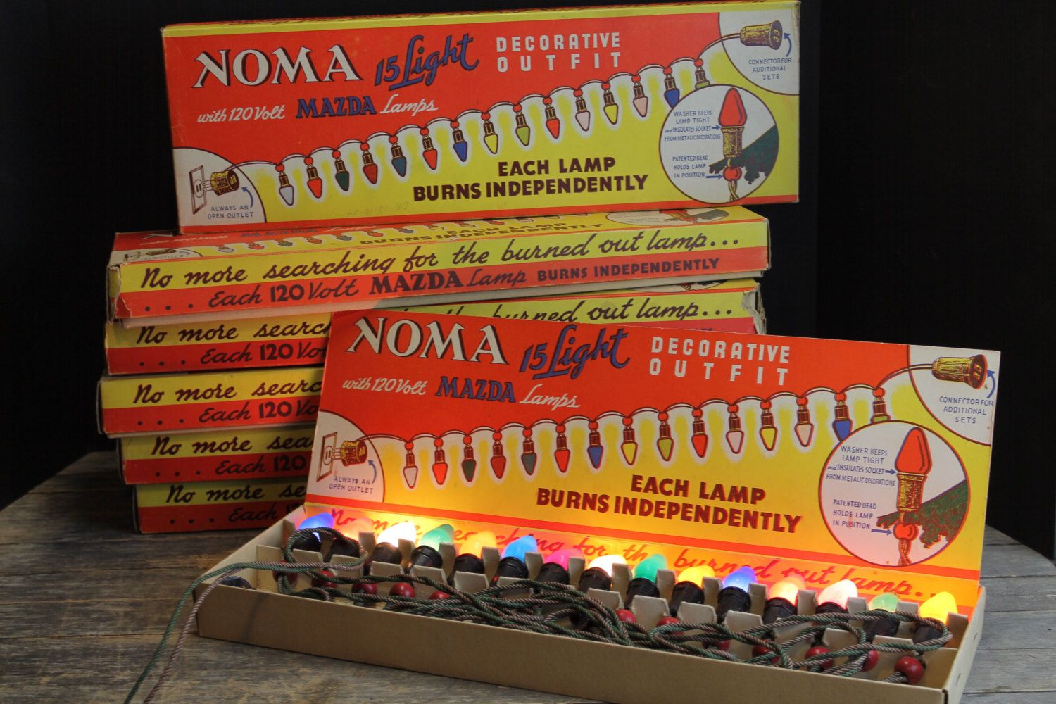 6 Vintage Noma C 7 Christmas Mazda Light Strands // New Old Stock ...