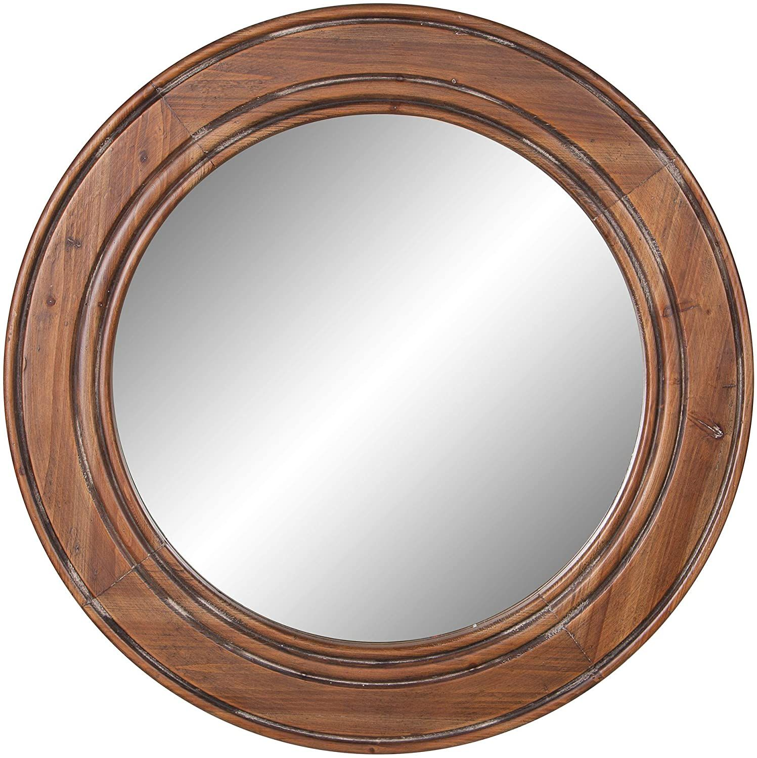 Reclaimed Wood Large Round Wall Accent Mirror The Nautical Decor Store In 2020 Accent Mirrors Accent Wall Mirror Decor