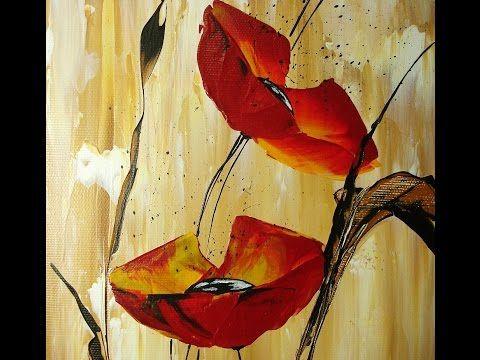 Mohnblumen Acryl Auf Leinwand Blumen Malen Blumen Malen Acryl Blumen Kunst