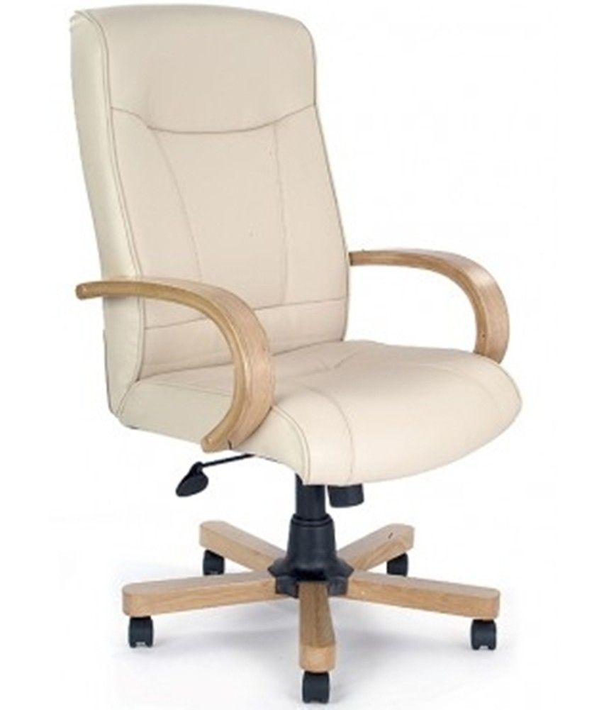 Ivory U0026 Oak Leather Look Executive Office Chair