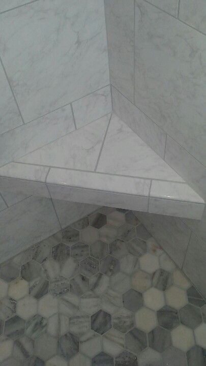 Carrara Marble Shower Pan And Marble Corner Bench Bath Tiles Marble Showers Bathrooms Remodel