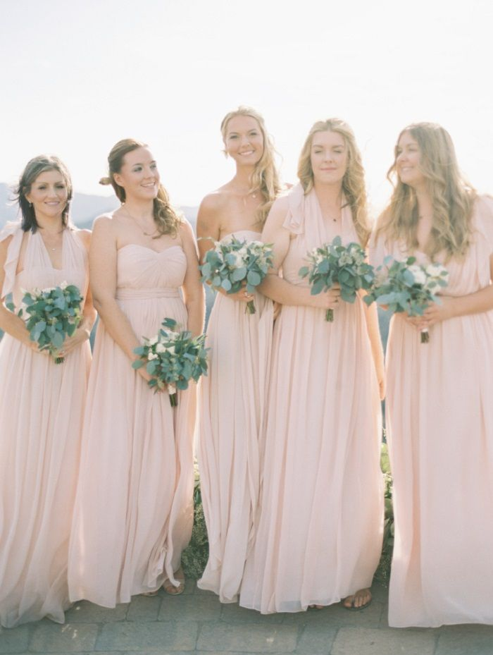 Blush bridesmaid dresses + green wedding bouquets | fabmood.com #weddinginspiration #blush #blushbridesmaiddresses