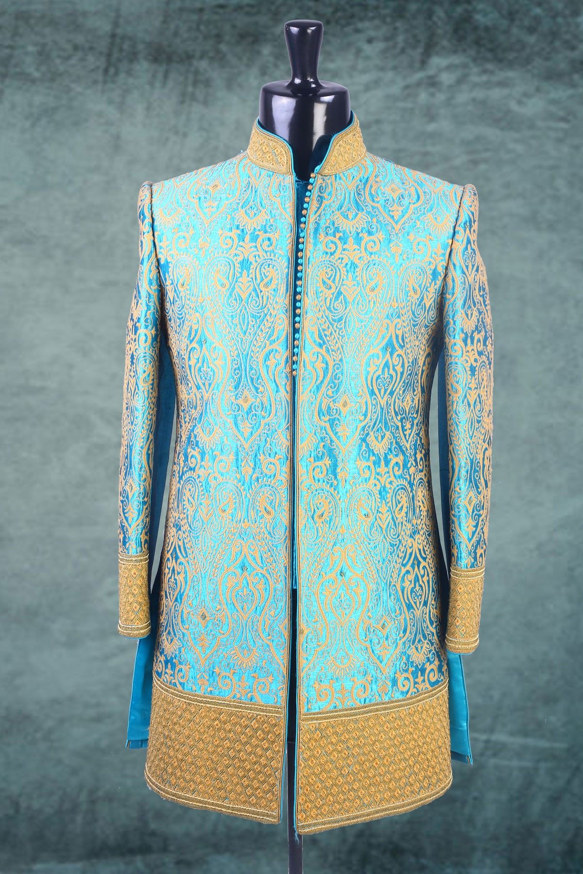 Light #Blue & #Beige brocade indo western #sherwani -IW121 | Wedding ...