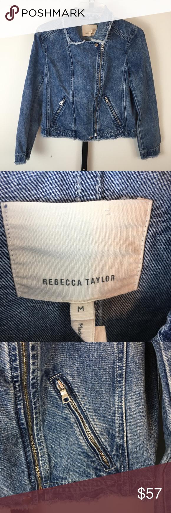 Rebecca Taylor Denim Moto Jacket M Blue Zip Front