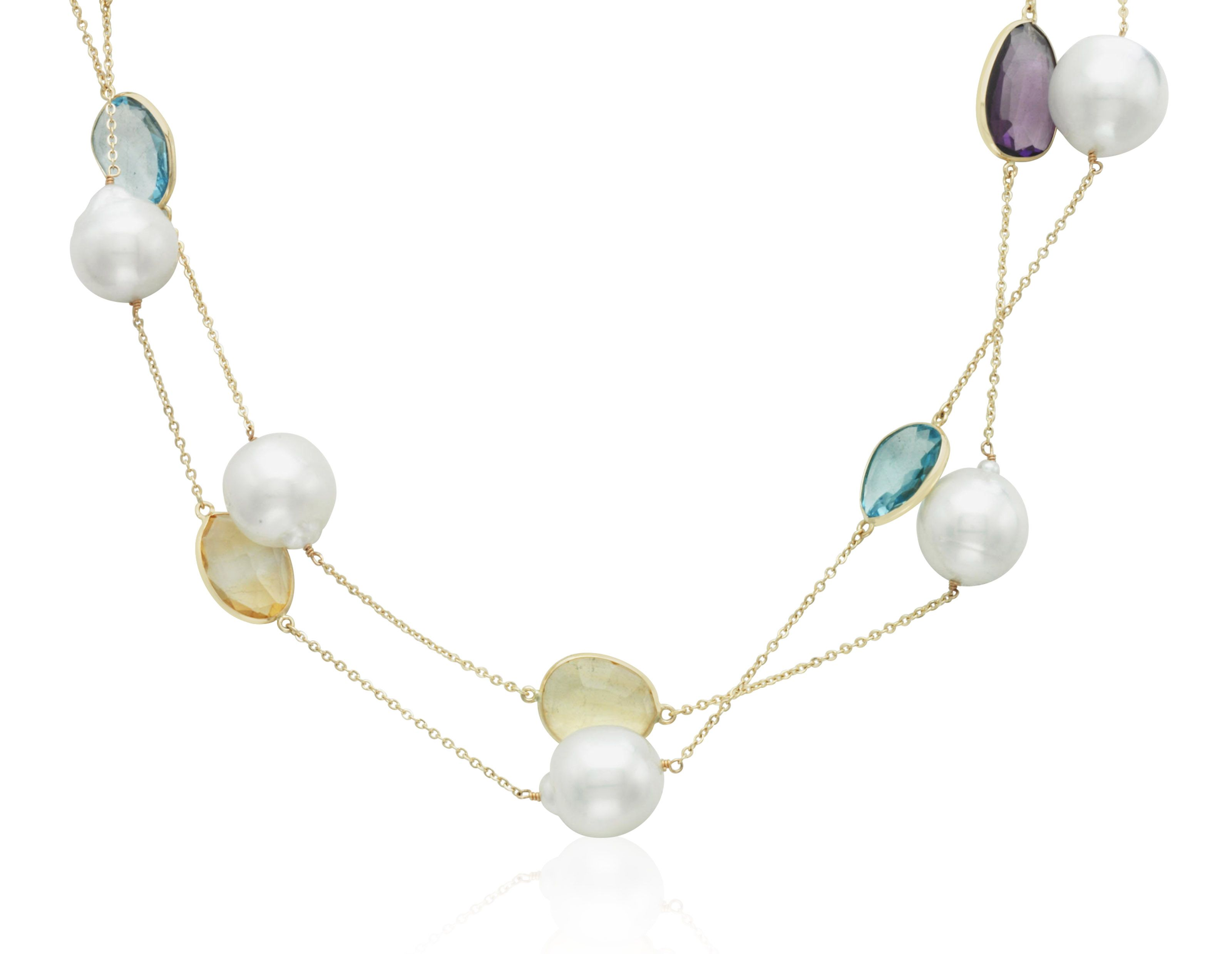 Cultured pearl and multi gemstone necklace