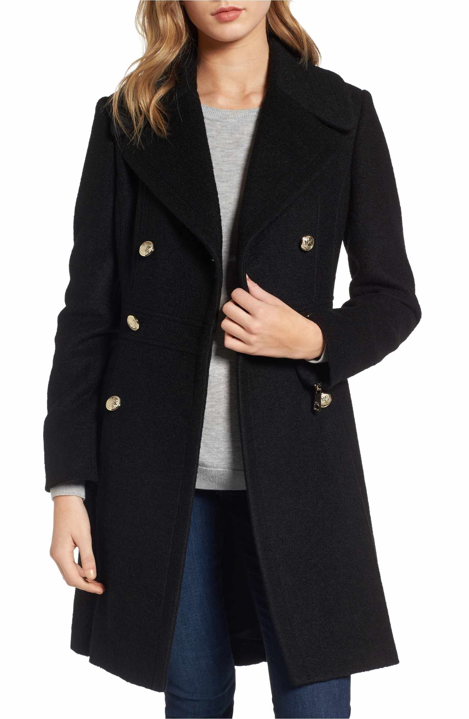 Main Image - GUESS Double Breasted Wool Blend Coat