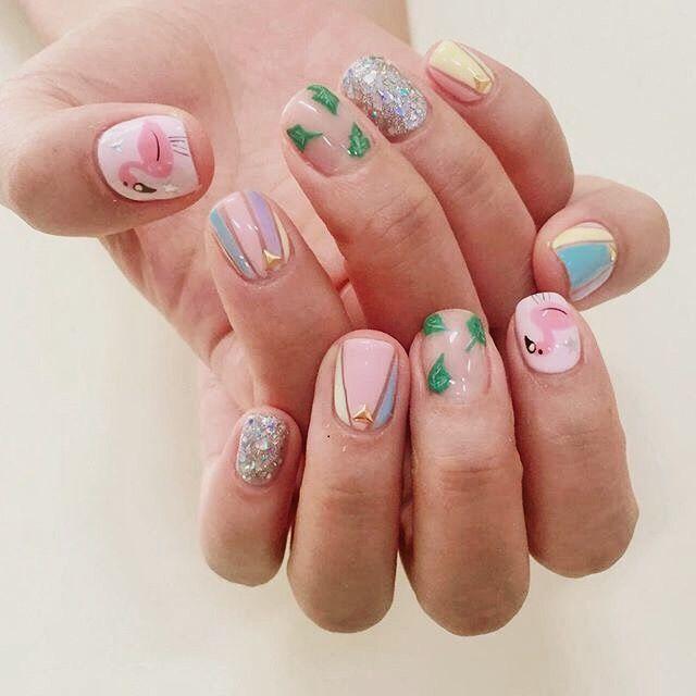 korean nail design l