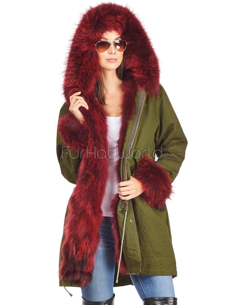 The Sergeant Wine Red Fur Lined Military Parka with Fur Trim ...